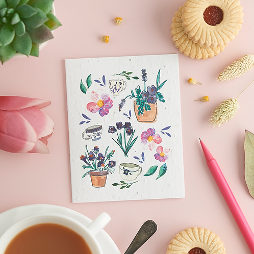 Cups and pots – plantable flower seed card