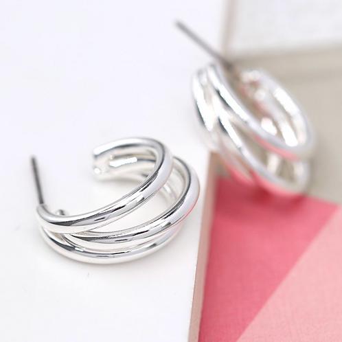 Silver plated triple strand hoop stud earrings