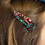 Thumbnail: Green and red mix double teardrop hairclip set