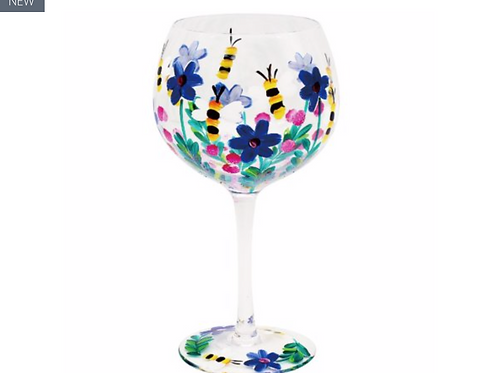 PAINTED BEES & FLOWERS GIN GLASS