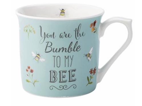 Bee Happy Blue Mug