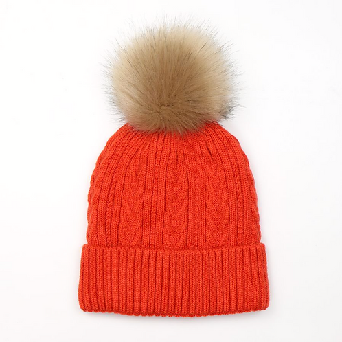 Orange cable knit faux fur bobble hat
