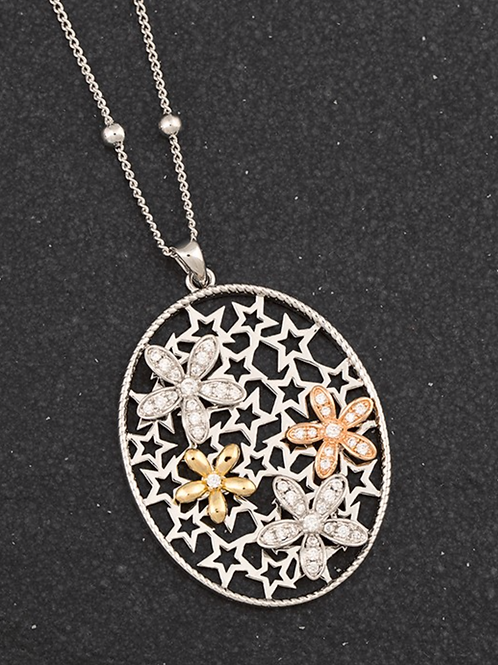 3 Tone Stars/Flowers Long Necklace