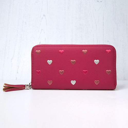 Raspberry Purse With Embroidered Hearts