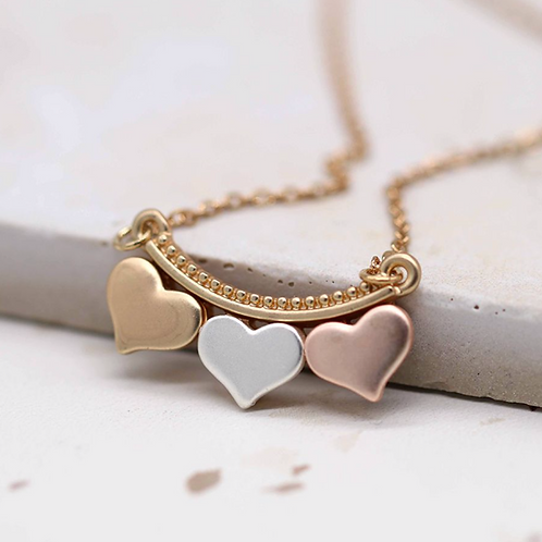 Silver, gold and rose gold triple hearts necklace