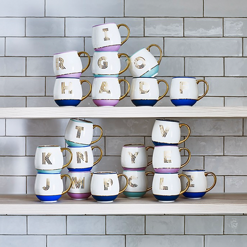 Library Monogram Mugs - A to M