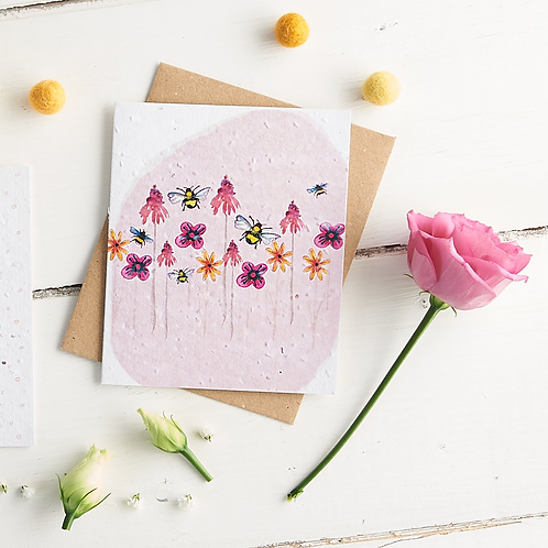 Pink bee garden – plantable wildflower seed card