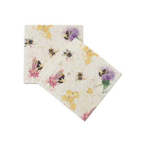 WOODLAND WALK COLLECTION: THISTLE AND BEE COASTERS X2