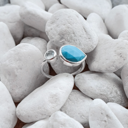 Maya Silver Ring with Blue Chalcedony & Turquoise stones