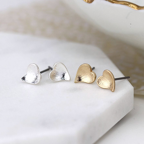 Silver and gold plated heart stud earring set