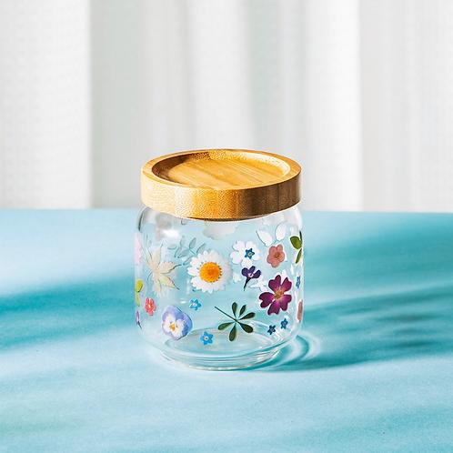 PRESSED FLOWERS GLASS STORAGE JAR SMALL