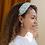 Thumbnail: Aqua fabric headband with vintage floral print
