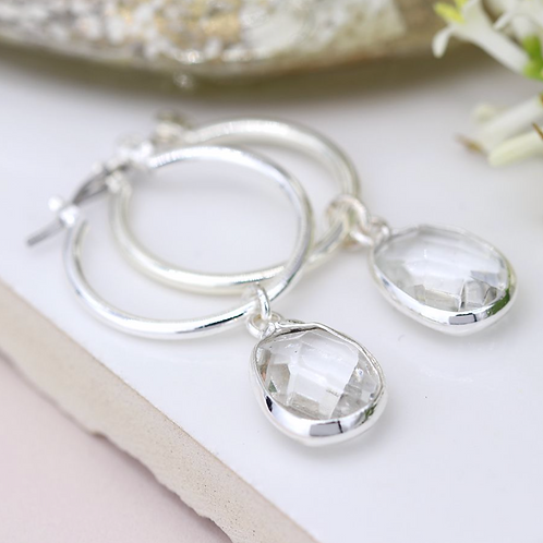 Silver plated hoop and clear crystal drop earrings