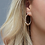 Thumbnail: Silver plated hoop and golden bead earrings