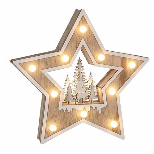 Wooden Led Star With Tree & Deer Scene