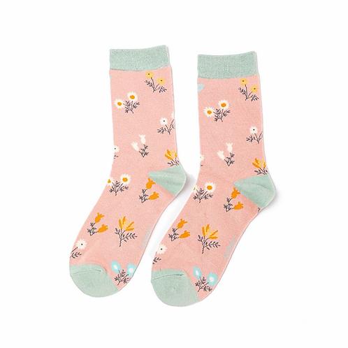 Dainty Floral Socks Dusky Pink