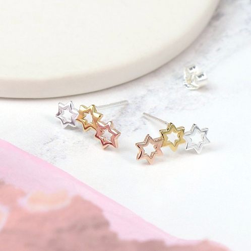 Sterling Silver Mixed Star Earrings