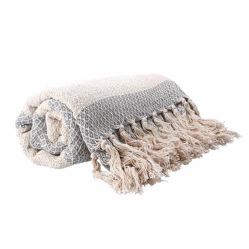Cotton Throw 150cm - Grey Woven Diamond Stripe