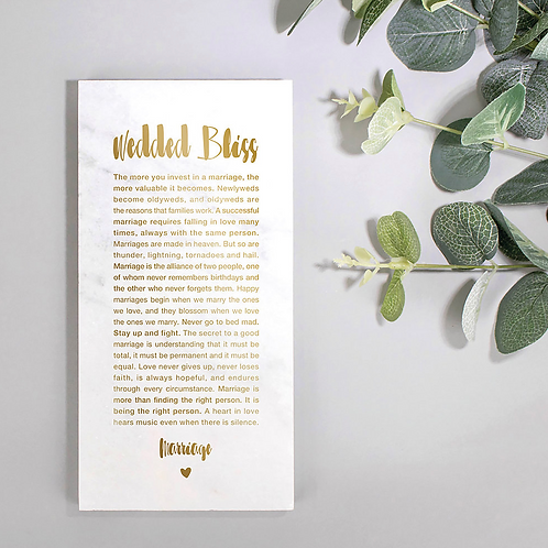 Marriage Marble and Gold Wedding Plaque