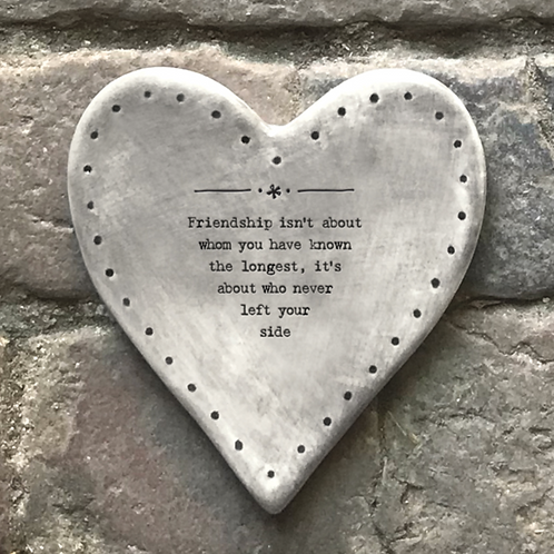 Rustic heart coaster-Friendship about the longest