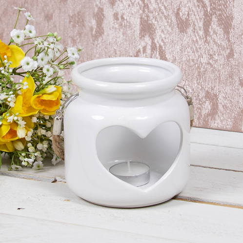 HEART CANDLE HOLDER WHITE 12CM