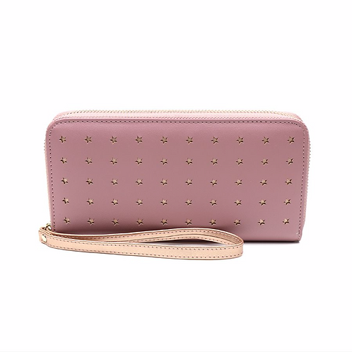 Pink faux leather and rose gold star purse