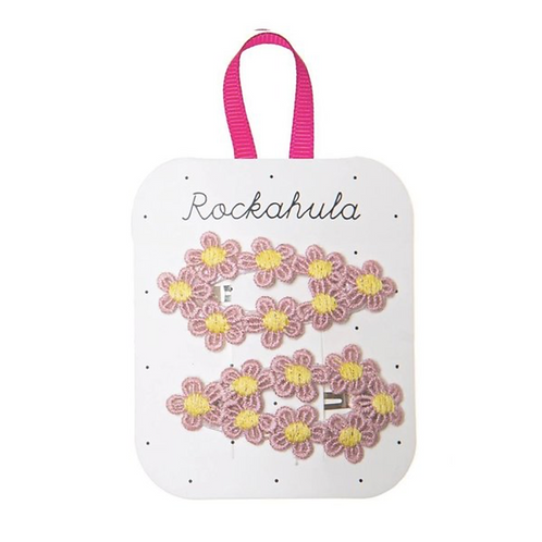 Crochet Flower Clips Pink