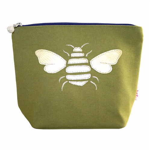Gold Bee Large Cosmetic Purse-Olive