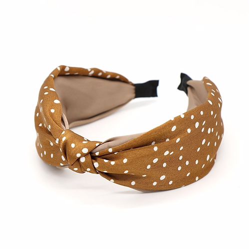 Gold and taupe silky headband with white dot print