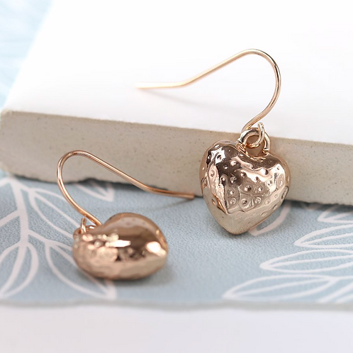 Rose gold plated hammered heart drop earrings