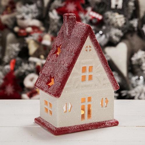 WHITE & RED HOUSE TEALIGHT HOLDER 19.5CM
