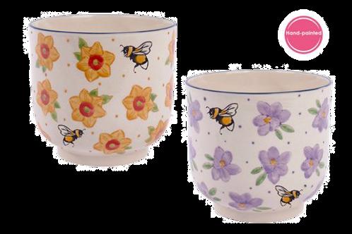 Floral & Bee Plant Pot