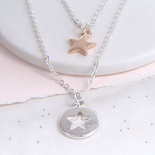 Double Layer Silver And Rose Gold Star Necklace