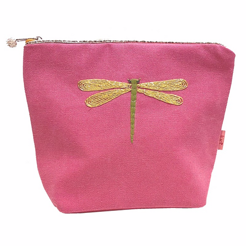 Embroidered Dragonfly Large Cosmetic Purse-Pink