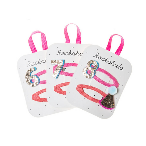 Birthday Glitter Clips - Ages 6 7 8