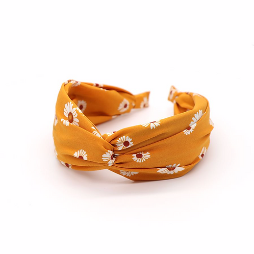 Mustard yellow daisy print headband