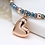 Thumbnail: Rose gold and blue bead bracelet with rose gold heart