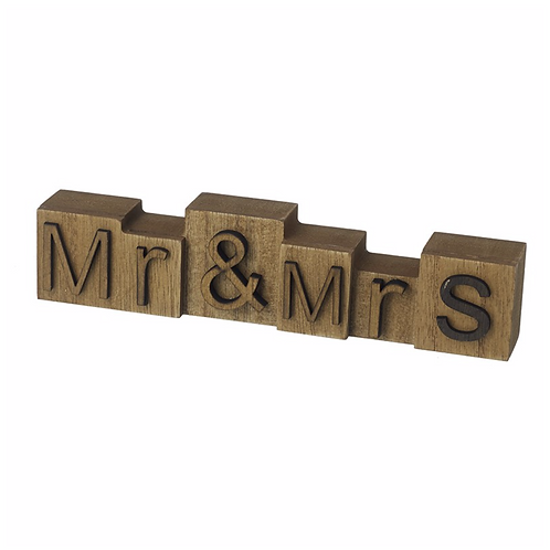 Mr & Mrs Wooden Block Sign