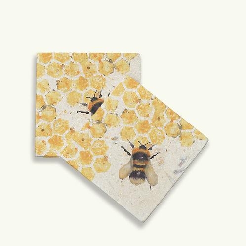 Bees Coasters x2