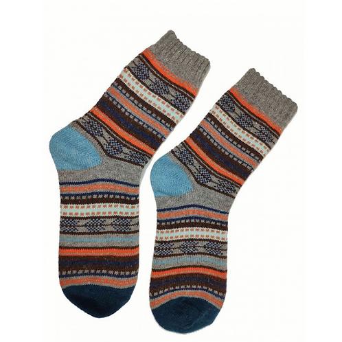 Blue heeled Colourful Wool Blend Socks