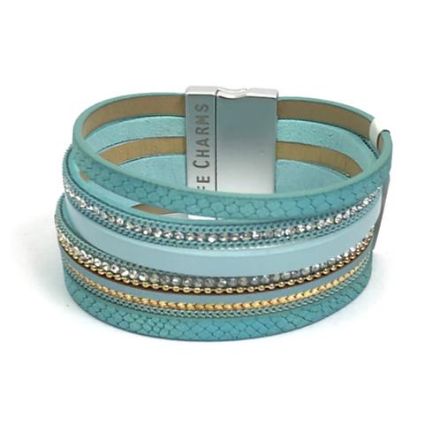 5 Row Aqua Wrap Bracelet