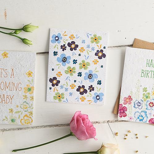 Funky Floral – wildflower plantable seed card