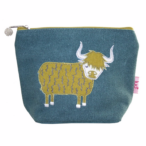 Highland Colourful Cow Small Cosmetic Purse-Teal