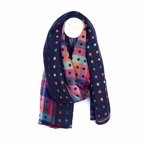 Navy mix jacquard dotty scarf