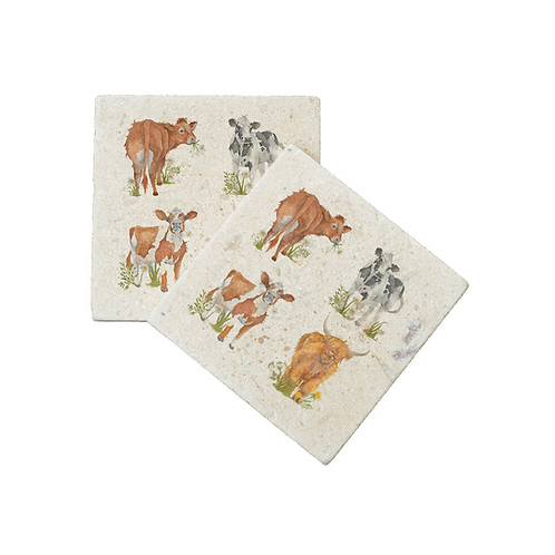THE BRITISH COLLECTION: COWS COASTERS X2