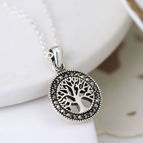 Sterling silver marcasite tree of life necklace
