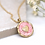 Thumbnail: Pearlescent pink enamel and golden heart necklace