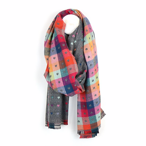 Grey and multi scarf with little jacquard hearts