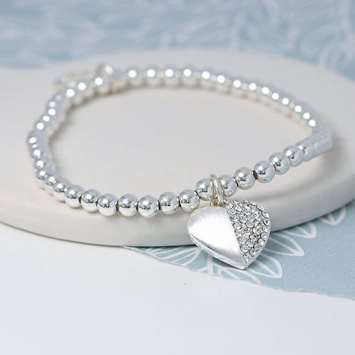 Silver Plated Split Crystal Heart Bracelet