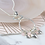 Thumbnail: Long silver plated hoop, hearts and pink beads necklace